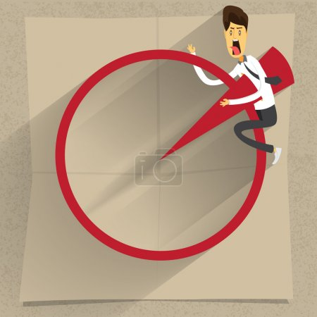 Illustration for Llustration of cartoon office worker down and die by chart - Royalty Free Image