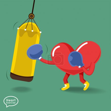 Heart character doing fitness