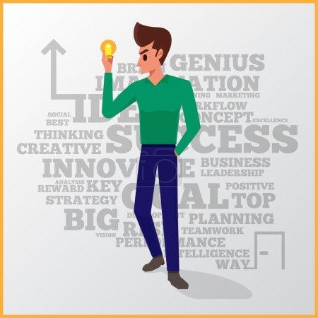 Illustration pour L'action vectorielle de l'homme d'affaires avec une ampoule ouvre la voie au succès - image libre de droit