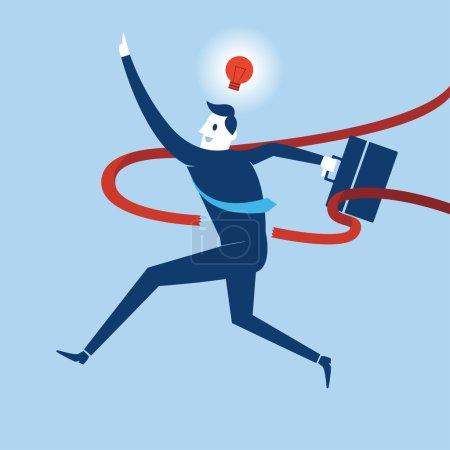 Illustration for Businessman Winning competition. Vector, illustration - Royalty Free Image