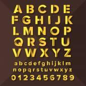 Vector Gold Alphabet Set on brown background