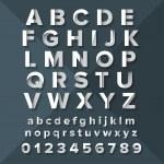 Vector Silver Alphabet Set on Dark Blue background.