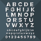 Vector Silver Alphabet Set on Dark Blue background
