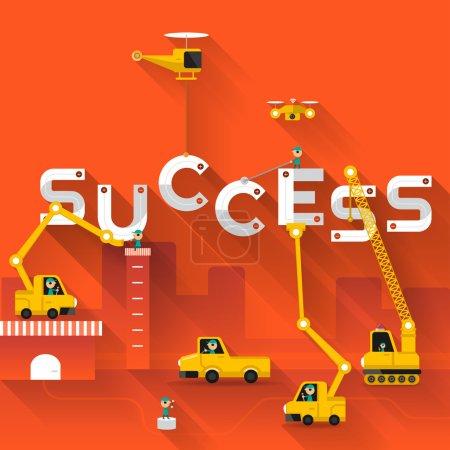 Construction site crane Success text