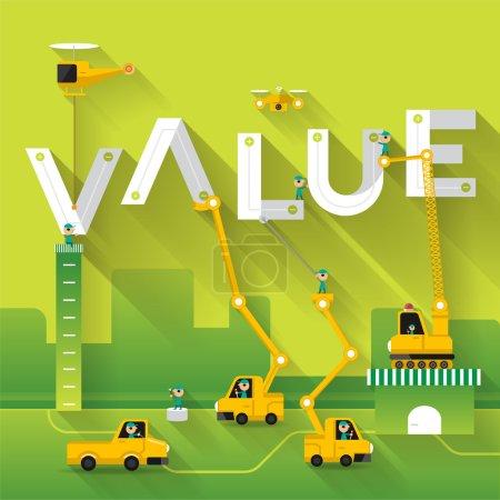 Construction site crane with Value text