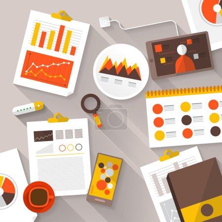 Illustration for Flat vector illustration of web analytics information and development website statistic - vector illustration - Royalty Free Image