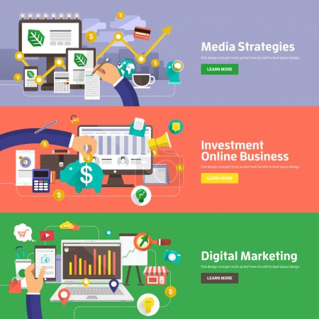 Flat design concepts for Media Strategies, Investment Online Business, Digital Marketing. Concepts for web banners and promotional materials.