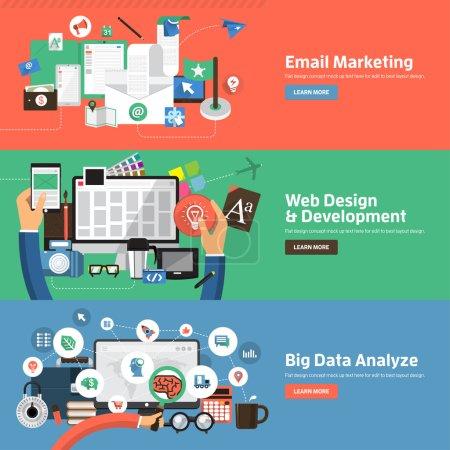 Illustration pour Concept de design plat pour Email Marketing, Web Design Development, Big Data Analyze. Concepts pour les bannières web et le matériel promotionnel . - image libre de droit