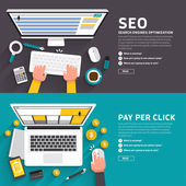 Flat design concept for seo article and ad online pay per click Vector illustrate for flexible design banner