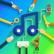 Teamwork hands build for icon music flat design an...