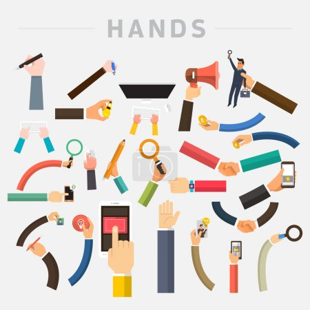 Mix hands holding multi devices