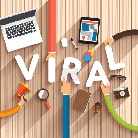 Flat design talking about digital marketing concept as text Viral on desktop, vector Illustration
