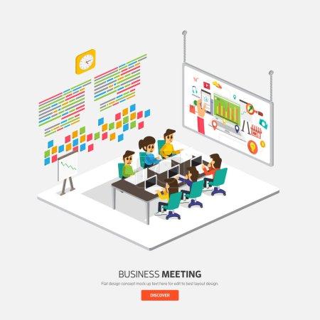 Illustration pour Design plat isométrique sur le concept d'entreprise processus Voir la séance de table. - image libre de droit