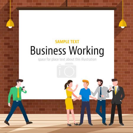 Illustration for Businesspeople with brick wall on backdrop, white paper canvas for use to layout with text or information - Royalty Free Image