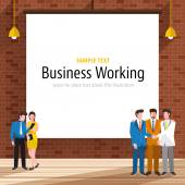 Businesspeople with brick wall on backdrop white paper canvas for use to layout with text or information