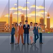 Az üzleti és város naplemente