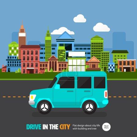 Illustration pour Concept-car design plat sur la route avec fond urbain, conduite en ville, illustration vectorielle - image libre de droit