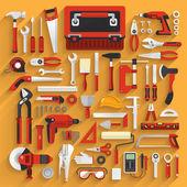 Flat design concept hand work tools box set Vector illustration