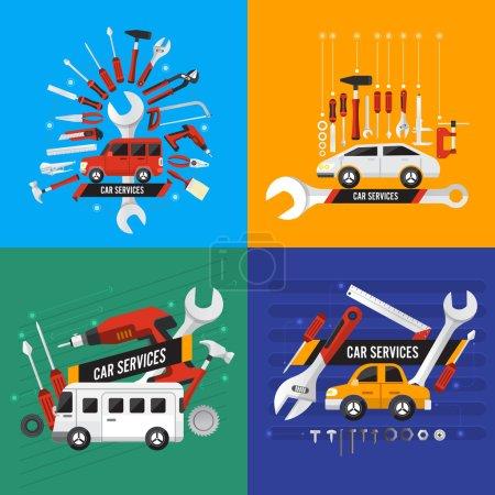 Illustration pour Illustration de concept services du voiture design plat, set vector - image libre de droit