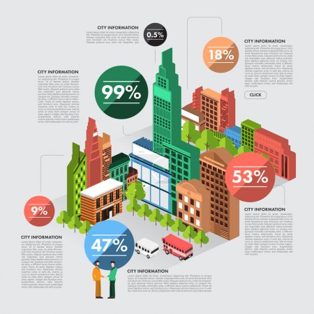 buildings info graphic in percent numbers