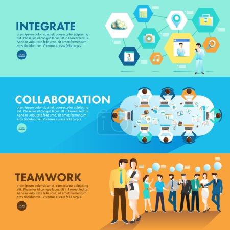 Illustration pour Design plat concept marketing intégrer la collaboration et le travail d'équipe pour travailler ensemble. Vecteur Illustrer - image libre de droit