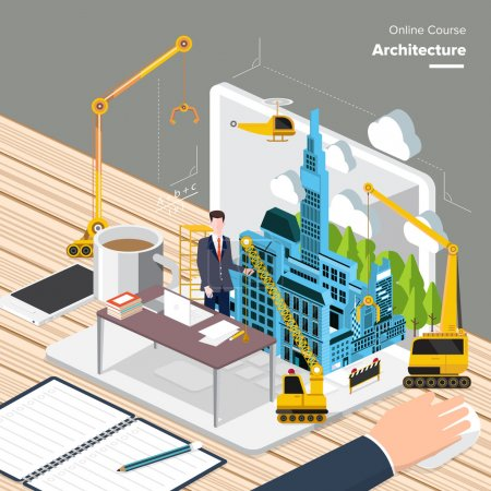 Illustration for Vector e-learning concept in flat style - digital content and online architecture - Royalty Free Image