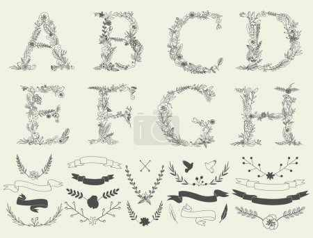 Floral elements of vintage alphabet