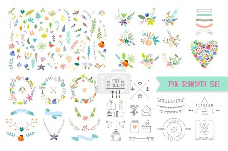 Illustration for Hand Drawn vintage floral elements. Set of flowers, icons and decor elements - Royalty Free Image