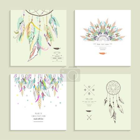 Illustration pour Attrapeur de rêves. Ensemble de quatre cartes. Illustration vectorielle . - image libre de droit