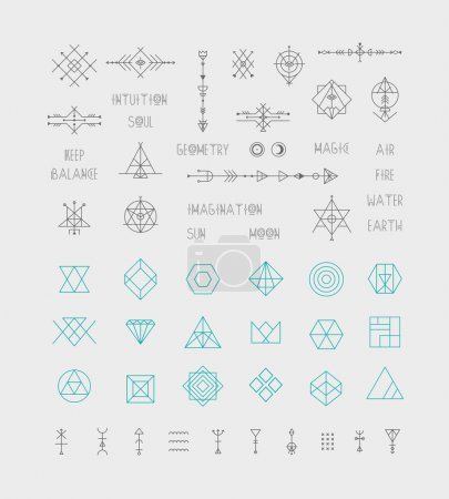 Set of trendy geometric icons