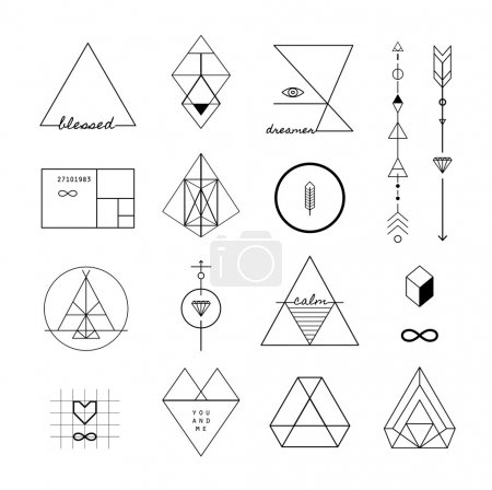 Set of trendy geometric icons and logotypes