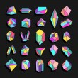 Set of crystals. Geometric shapes. Trendy hipster ...