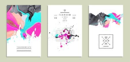 set of creative artistic invitations