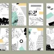 Hand drawn collection of artistic invitations with...