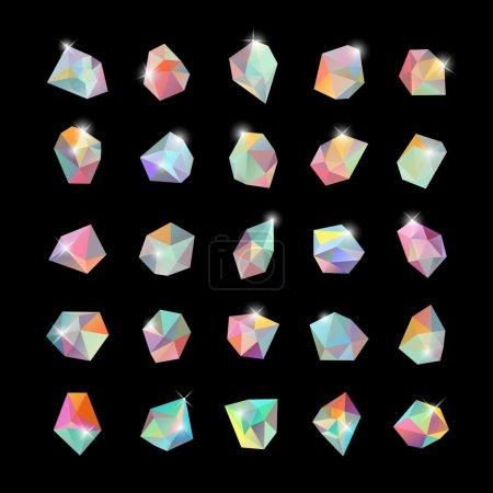 Geometric shapes, crystals background set