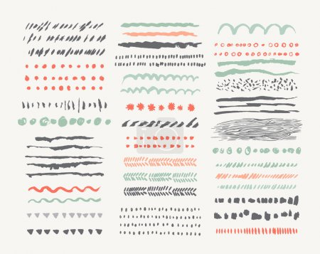 Illustration for Hand drawn vector line borders and dividers collection - Royalty Free Image