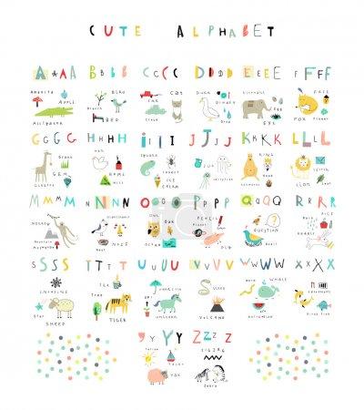 Photo pour Joli alphabet. Lettres et mots. Flore, faune, animaux . - image libre de droit