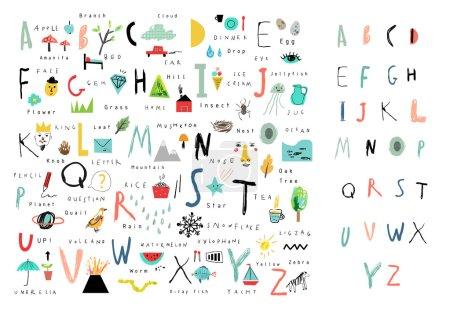 Illustration pour Alphabet mignon. Lettres et les mots. Apprendre à lire. Isolé. - image libre de droit