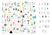 Cute alphabet Letters and words Learn to read Isolated