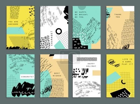 Collection of trendy cards with geometric shapes