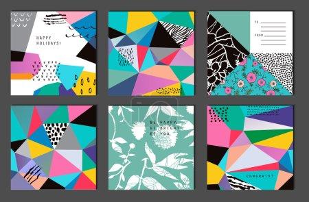 Ilustración de Conjunto de 6 tarjetas universales creativas. Texturas dibujadas a mano. Boda, aniversario, cumpleaños, día de Valentín, invitaciones a fiestas. Vector. Aislado. - Imagen libre de derechos