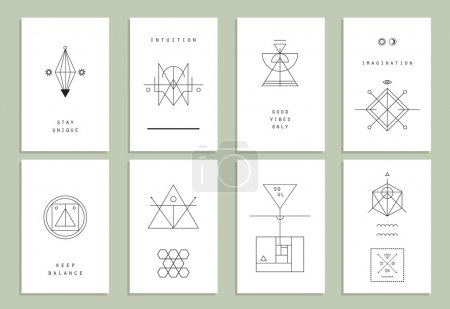 Set of vector trendy cards with geometric icons