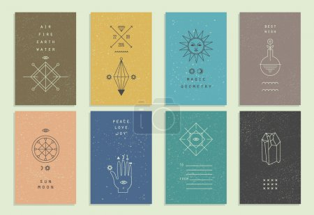 Set of vector trendy cards with geometric icons. Alchemy symbols collection