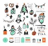 Hand drawn sketch Merry Christmas and Happy New Year set