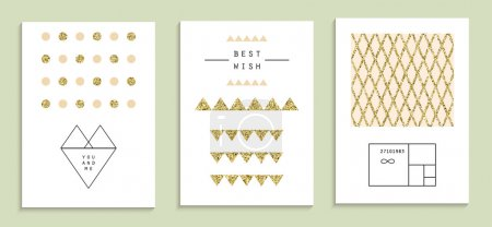Set of trendy invitations with gold glitter texture