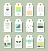 Collection of 12 Hang Tags Trendy geometric patterns and colors