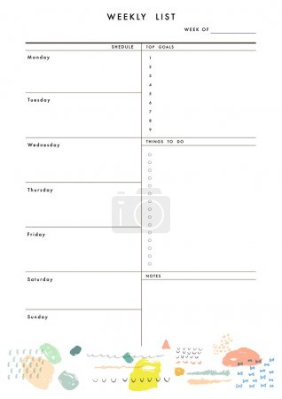 Weekly Planner Template. Organizer and Schedule
