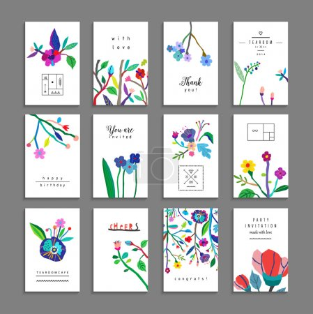 Illustration for Collection of unusual cards with flowers. Beautiful freehand colorful illustration. Design for posters, cards, invitations, placards, brochures or flyers. Isolated - Royalty Free Image