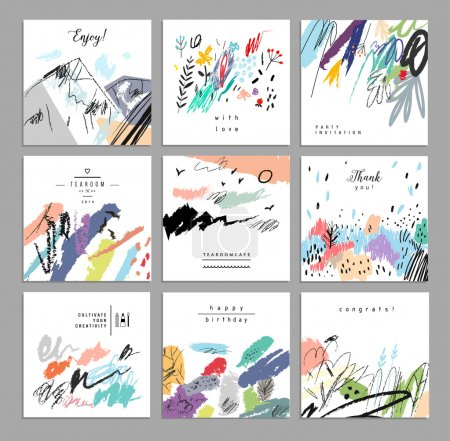 Illustration for Set of artistic creative universal cards. Hand Drawn textures. Wedding, anniversary, birthday, Valentin's day, party. Design for posters, cards, invitations, placards, brochures, flyers.  Vector. Isolated. - Royalty Free Image
