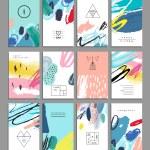 Set of artistic creative universal cards. Hand Dra...